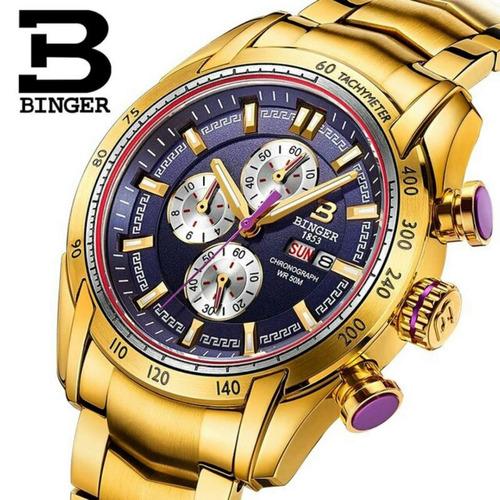 4f6723fd8e5 Relogio Binger Masculino De Luxo Dourado Cristal De Safira R  5 990 00 em  Mercado