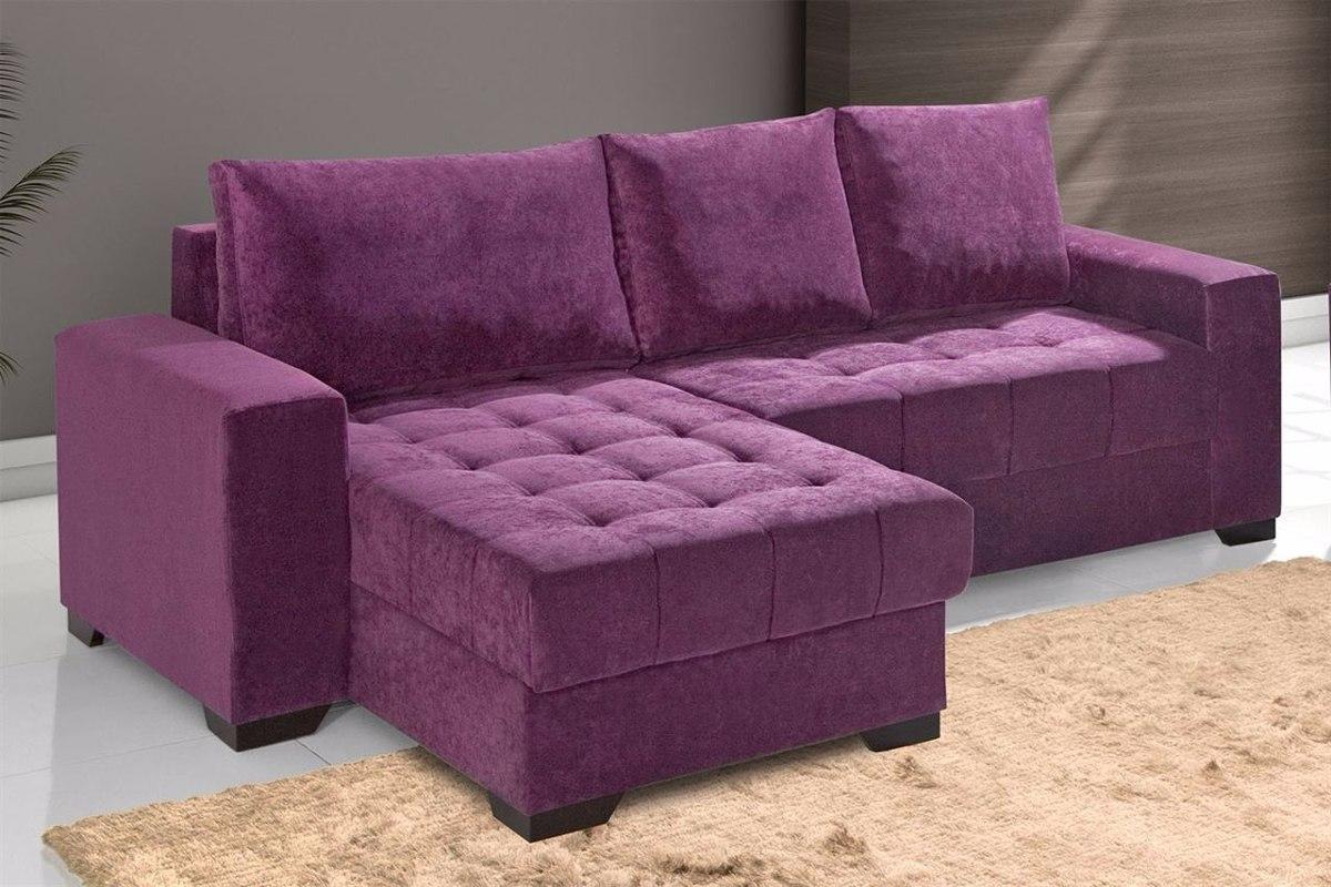 Sala De Tv Com Sofa Roxo ~ Sofá 2 Lugares + Chaise Em Tecido Animalle Lr ( Somente Rj)  R$ 1