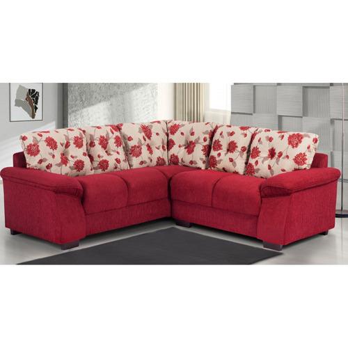 Sala De Tv Com Sofa Vermelho ~  Santiago 4 Lugares Chenille  Vermelho  R$ 1380,90 em Mercado Livre