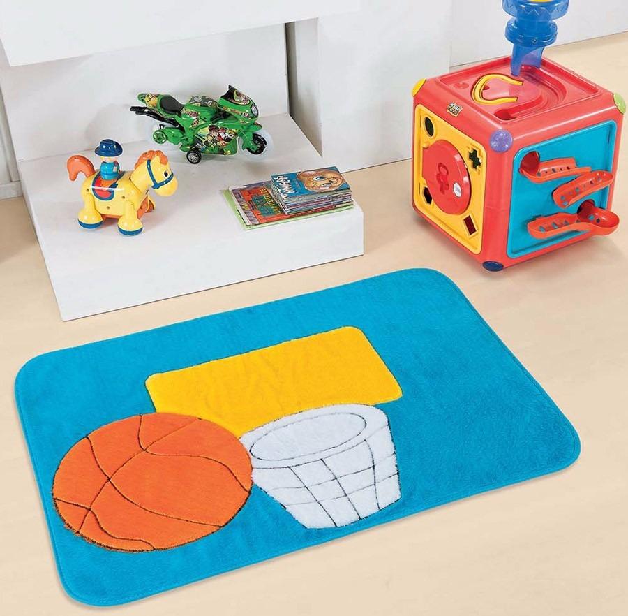 Tapete Para Quarto Infantil Pelúcia Cesta Basquete Azul  ~ Tapetes Para Quarto Infantil